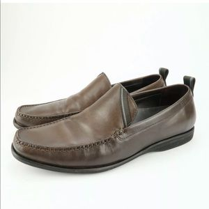 Hugo Boss Leather Slip On Moc Toe Loafers